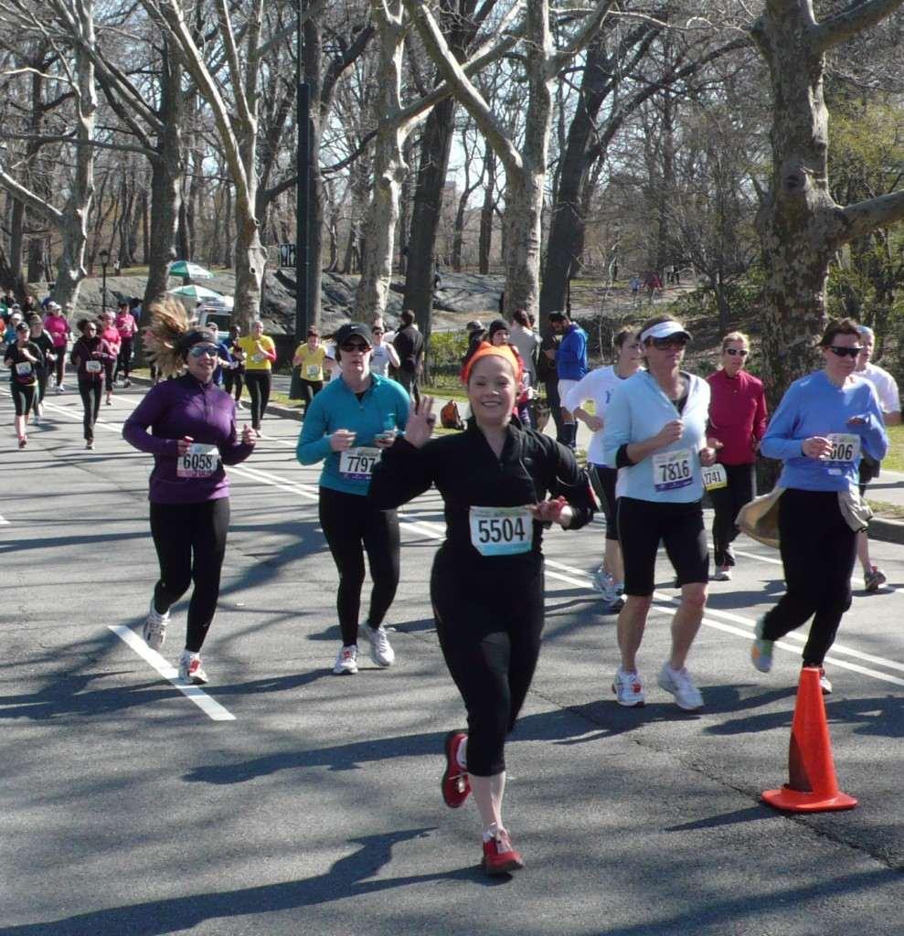 Lady running marathon